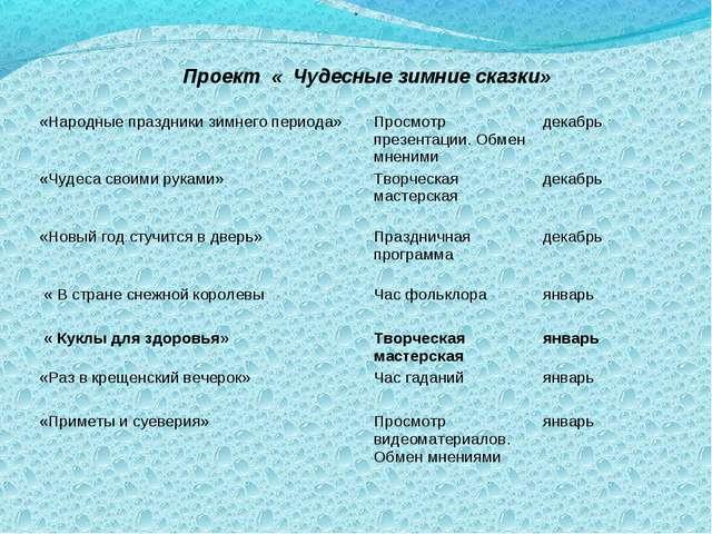 . Проект « Чудесные зимние сказки»  «Народные праздники зимнего периода»Про...