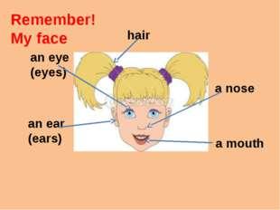 Remember! My face an eye (eyes) an ear (ears) a nose a mouth hair