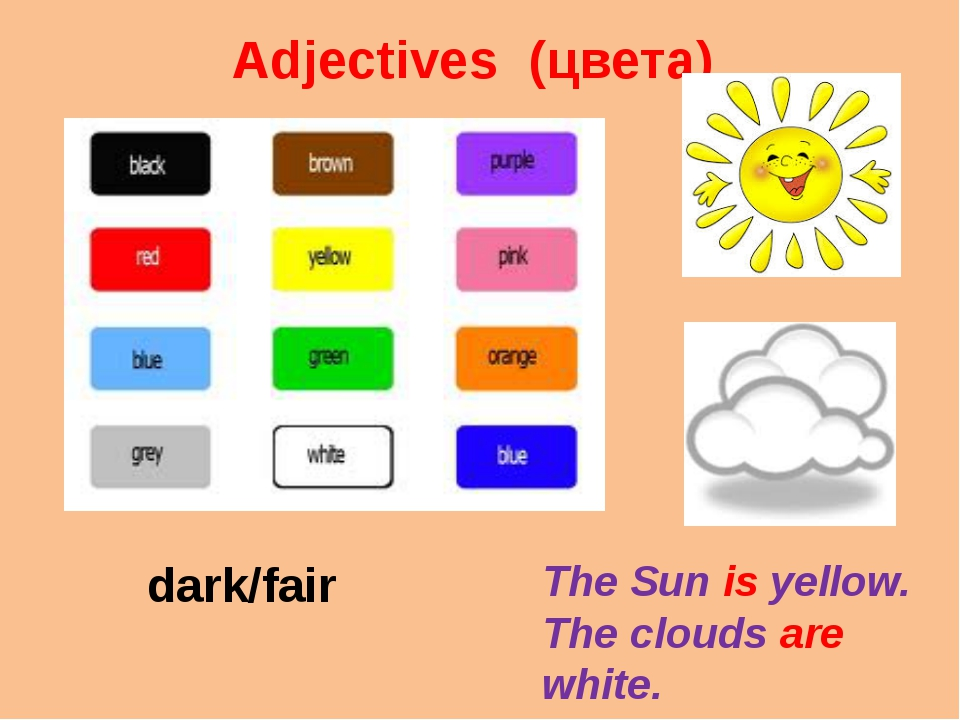 Adjectives (цвета) The Sun is yellow. The clouds are white. dark/fair