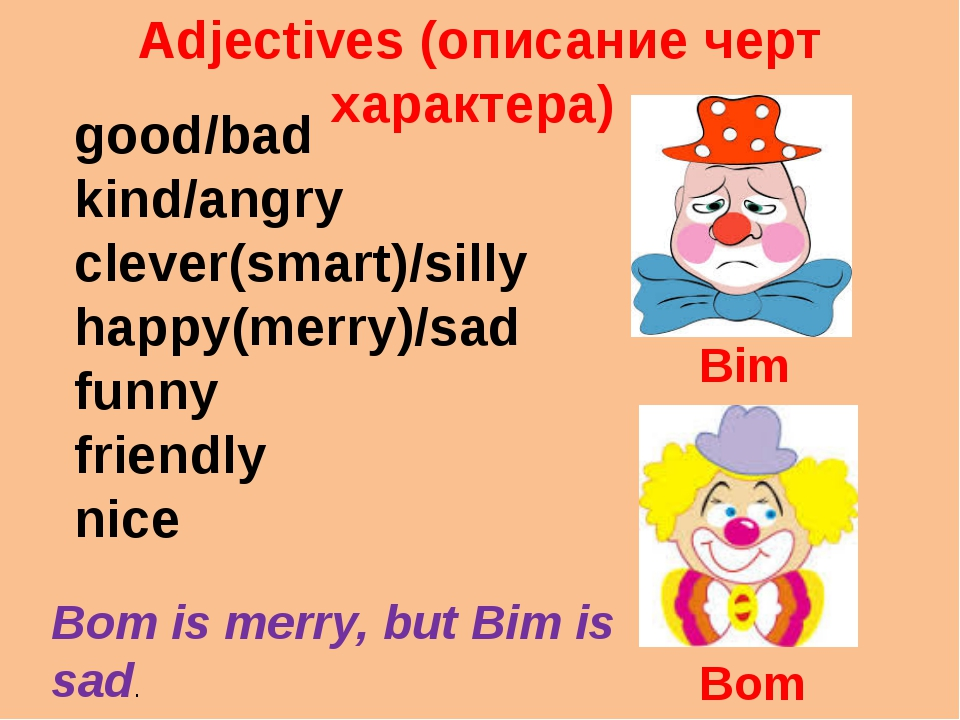 Adjectives (описание черт характера) good/bad kind/angry clever(smart)/silly...