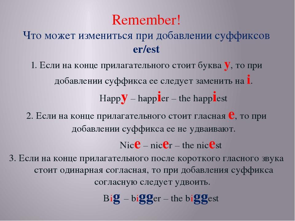 Remember! Что может измениться при добавлении суффиксов er/est 1. Если на кон...