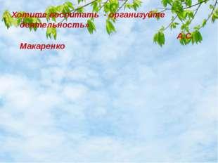 Хотите воспитать - организуйте деятельность» А.С. Макаренко