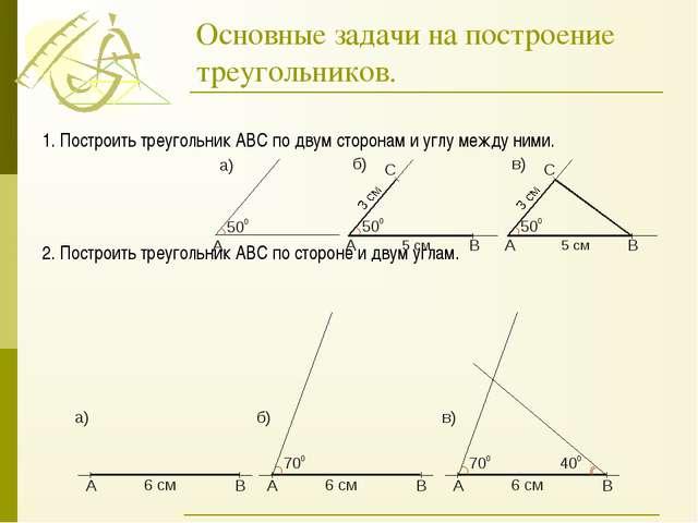 Основные задачи на построение треугольников. 1. Построить треугольник АВС по...