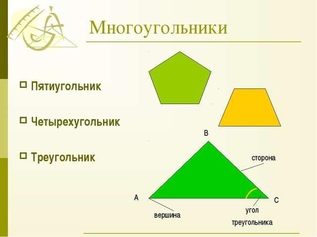 Многоугольники Пятиугольник Четырехугольник Треугольник сторона угол треуголь...