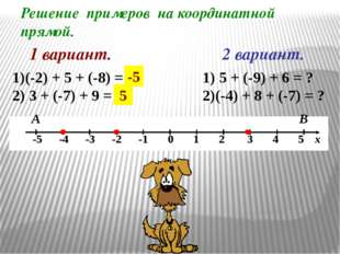 Решение примеров на координатной прямой. 1 вариант. А В 2 вариант. (-2) + 5 +