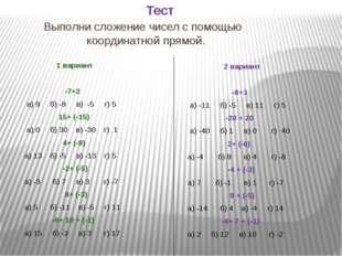 Тест Выполни сложение чисел с помощью координатной прямой. 1 вариант -7+2 а)