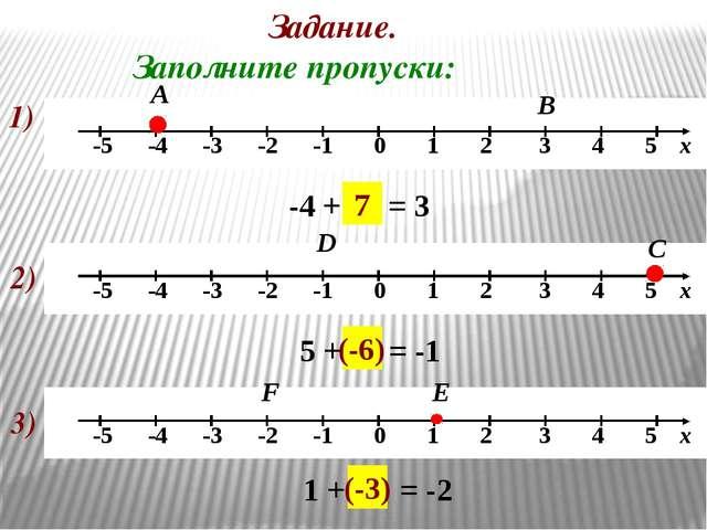 Задание. Заполните пропуски: 1) А -4 + … = 3 В 7 2) С D 5 + … = -1 (-6) 3) Е...