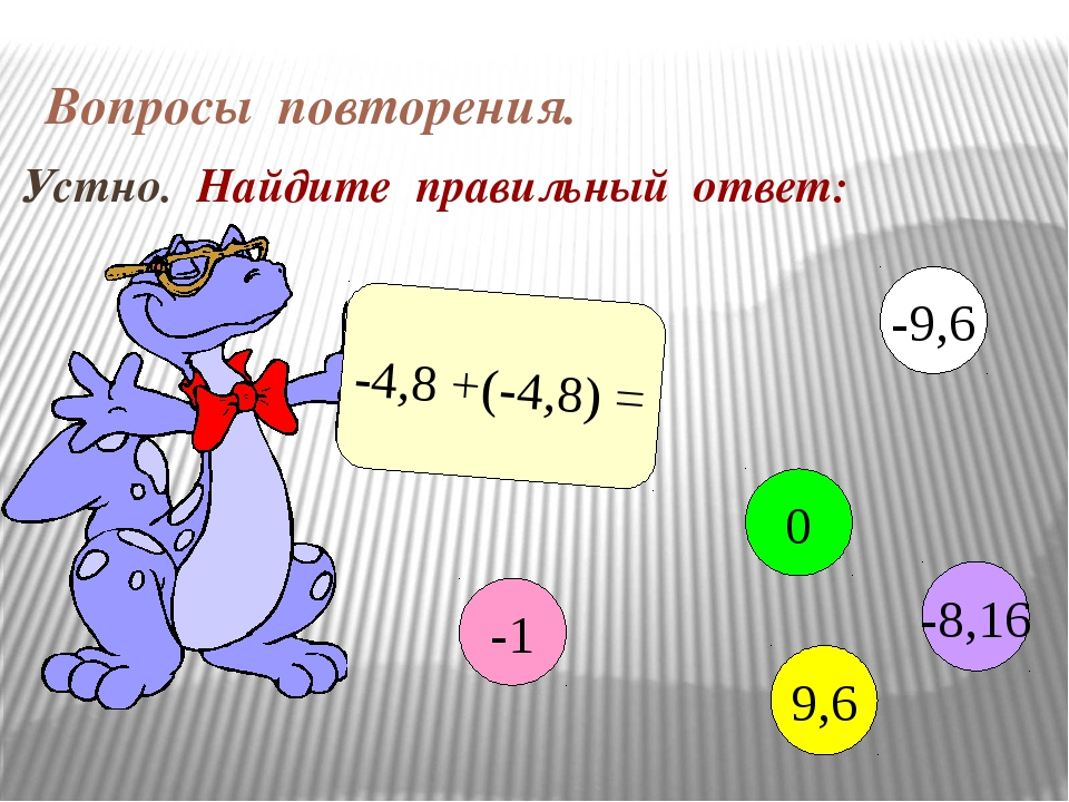 Вопросы повторения. Устно. Найдите правильный ответ: -4,8 +(-4,8) = -1 0 9,6...
