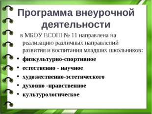 Программа внеурочной деятельности в МБОУ ЕСОШ № 11 направлена на реализацию р