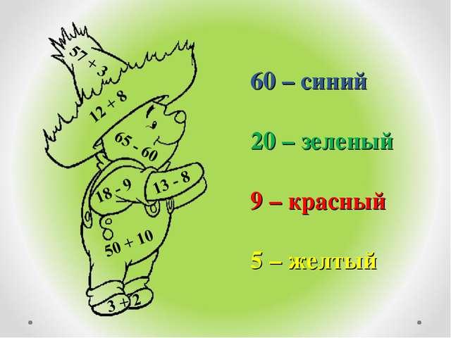 60 – синий 20 – зеленый 9 – красный 5 – желтый