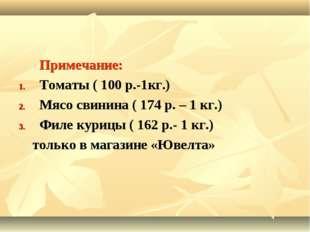 Примечание: Томаты ( 100 р.-1кг.) Мясо свинина ( 174 р. – 1 кг.) Филе курицы