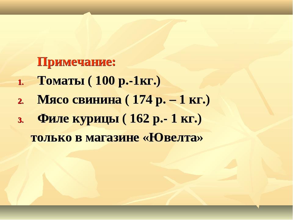 Примечание: Томаты ( 100 р.-1кг.) Мясо свинина ( 174 р. – 1 кг.) Филе курицы...