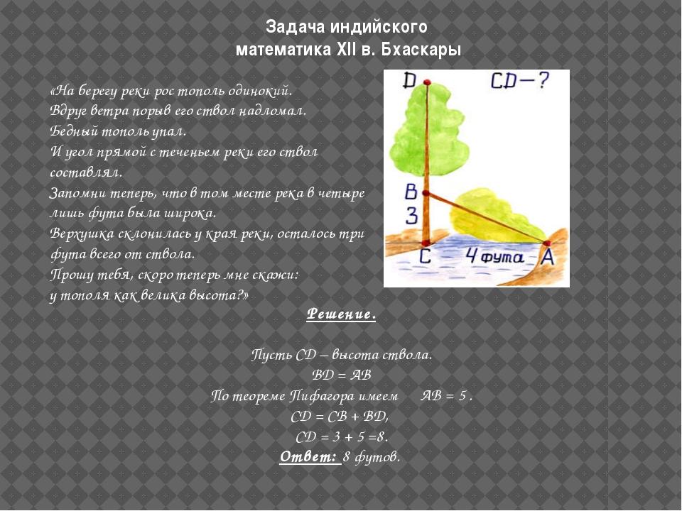 Задача индийского математика XII в. Бхаскары  «На берегу реки рос тополь оди...