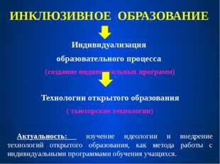 ИНКЛЮЗИВНОЕ ОБРАЗОВАНИЕ Индивидуализация образовательного процесса (создание