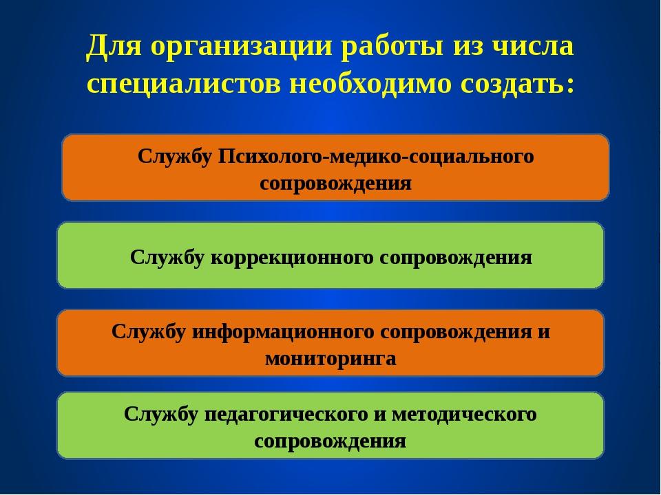 Для организации работы из числа специалистов необходимо создать: Службу Психо...