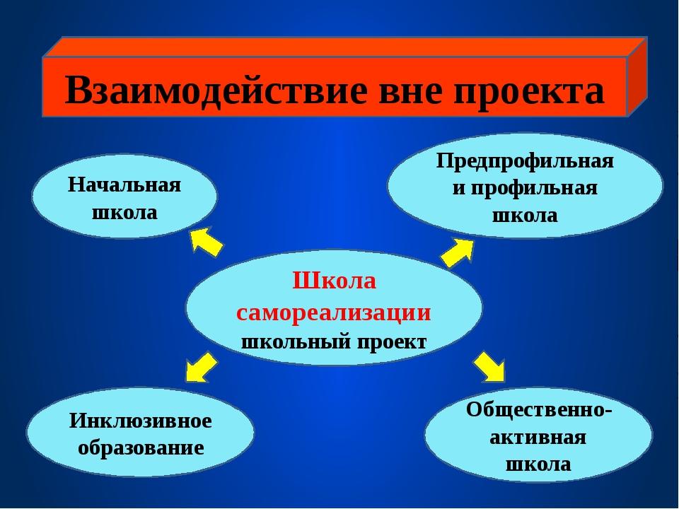Взаимодействие вне проекта Школа самореализации школьный проект Начальная шк...