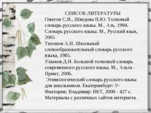 СПИСОК ЛИТЕРАТУРЫ Ожегов С.И., Шведова Н.Ю. Толковый словарь русского языка.
