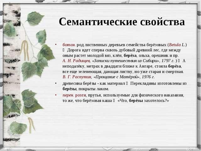 Семантические свойства ботан. род лиственных деревьев семейства берёзовых (B...