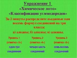 Упражнение 1 «Химическое лото» «Классификация углеводородов» За 2 минуты расп