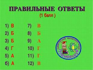 ПРАВИЛЬНЫЕ ОТВЕТЫ (1 балл ) 1) В 2) Б 3) Б 4) Г 5) А б) А 7) В 8) Б 9) А 10)