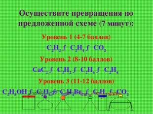 Осуществите превращения по предложенной схеме (7 минут): Уровень 1 (4-7 балло