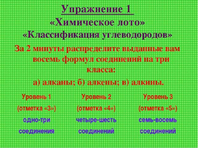 Упражнение 1 «Химическое лото» «Классификация углеводородов» За 2 минуты расп...
