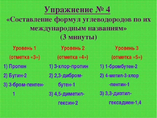 Упражнение № 4 «Составление формул углеводородов по их международным названия...