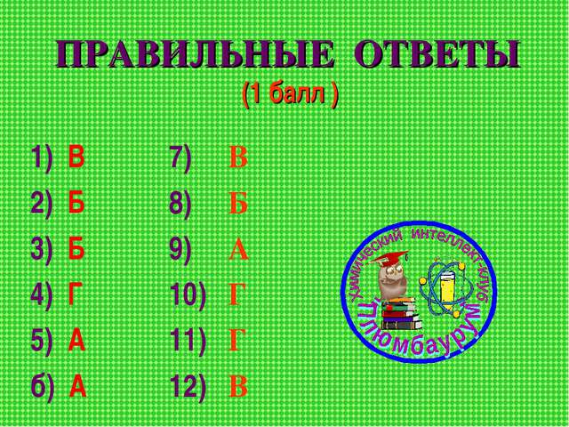 ПРАВИЛЬНЫЕ ОТВЕТЫ (1 балл ) 1) В 2) Б 3) Б 4) Г 5) А б) А 7) В 8) Б 9) А 10)...