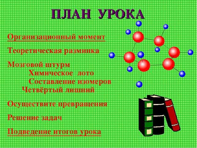 ПЛАН УРОКА Организационный момент Теоретическая разминка Мозговой штурм Хими...