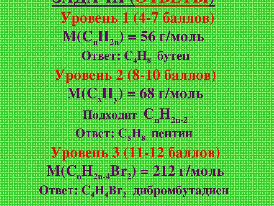 ЗАДАЧИ (ОТВЕТЫ) Уровень 1 (4-7 баллов) М(СnН2n) = 56 г/моль Ответ: С4Н8 бутен...