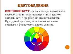 ЦВЕТОВЕДЕНИЕ ЦВЕТОВОЙ КРУГ –лента спектра, положенная кругообразно и замкнута
