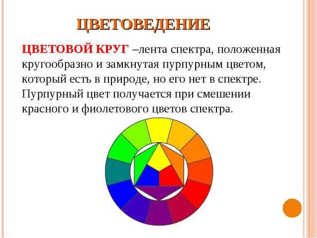 ЦВЕТОВЕДЕНИЕ ЦВЕТОВОЙ КРУГ –лента спектра, положенная кругообразно и замкнута...
