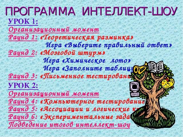 ПРОГРАММА ИНТЕЛЛЕКТ-ШОУ УРОК 1: Организационный момент Раунд 1: «Теоретическа...