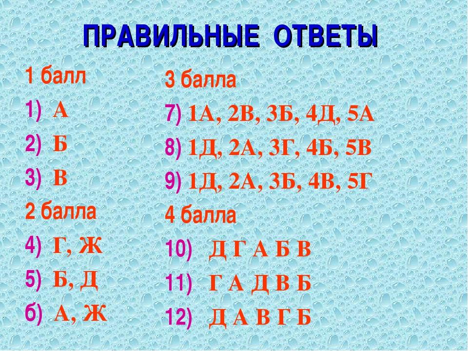 ПРАВИЛЬНЫЕ ОТВЕТЫ 1 балл 1) А 2) Б 3) В 2 балла 4) Г, Ж 5) Б, Д б) А, Ж 3 бал...
