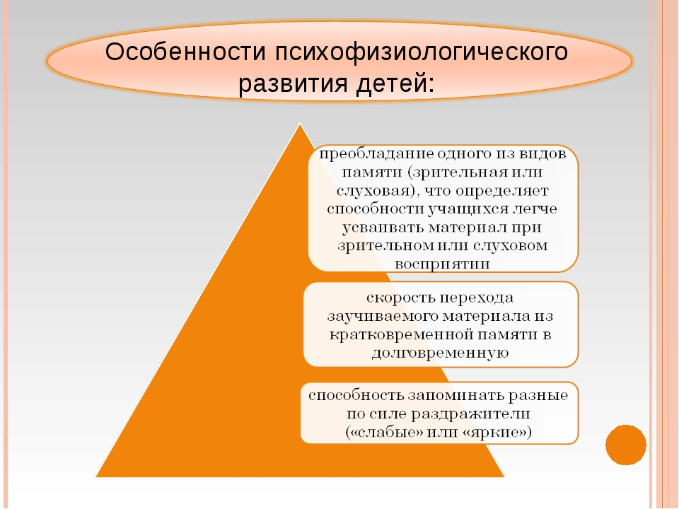 Особенности психофизиологического развития детей: