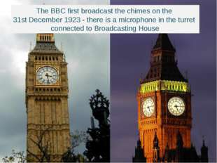 The BBC first broadcast the chimes on the 31st December 1923 - there is a mic