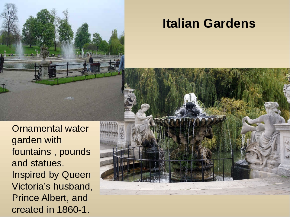 Ornamental water garden with fountains , pounds and statues. Inspired by Quee...