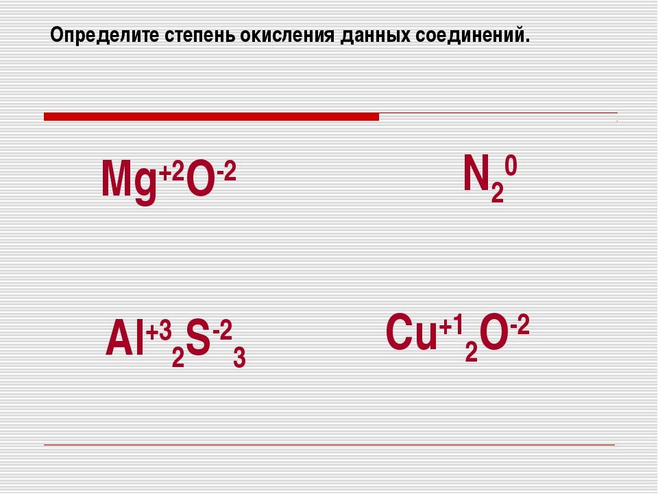 Определите степень окисления данных соединений. Mg+2O-2 N20 Al+32S-23 Cu+12O-2