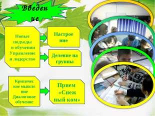 Введение Деление на группы Новые подходы в обучении Управление и лидерство Пр