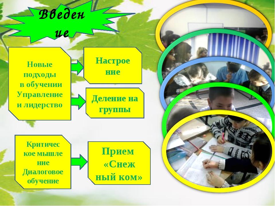Введение Деление на группы Новые подходы в обучении Управление и лидерство Пр...