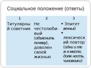 Социальное положение (ответы) 1 2 3 Титулярный советник Нечестолюби-вый(объяс