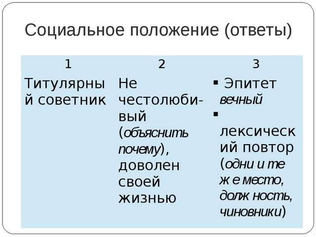 Социальное положение (ответы) 1 2 3 Титулярный советник Нечестолюби-вый(объяс...