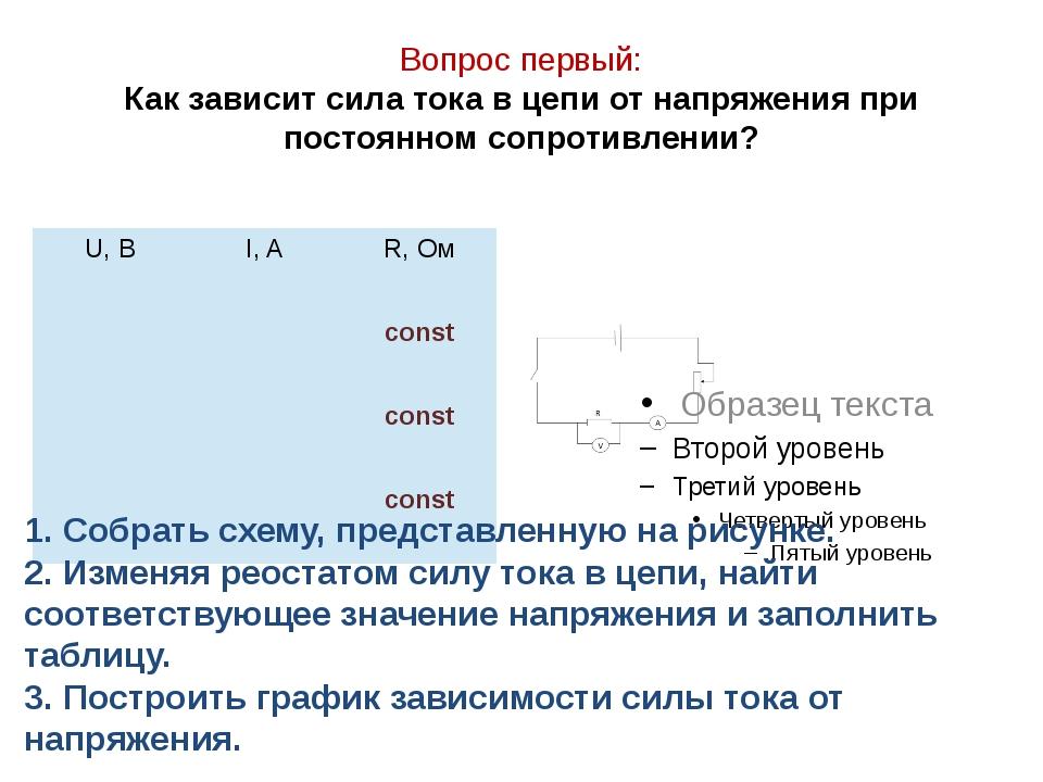 Вопрос первый: Как зависит сила тока в цепи от напряжения при постоянном сопр...