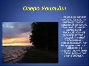 Озеро Увильды Над водной гладью озера возвышается много островов: Ольховый, Б