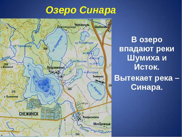 В озеро впадают реки Шумиха и Исток. Вытекает река –Синара. Озеро Синара