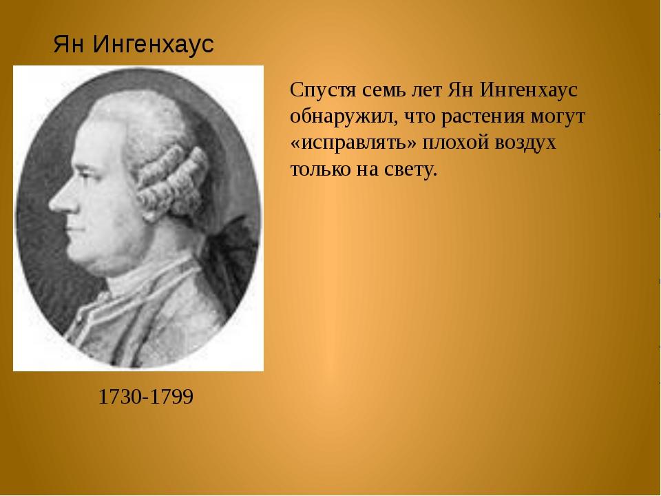 Ян Ингенхаус 1730-1799 Спустя семь лет Ян Ингенхаус обнаружил, что растения м...