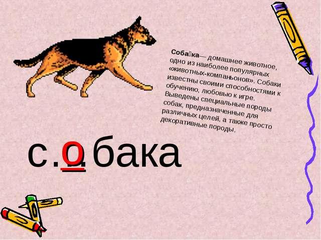 с…бака о Соба́ка— домашнее животное, одно из наиболее популярных «животных-ко...