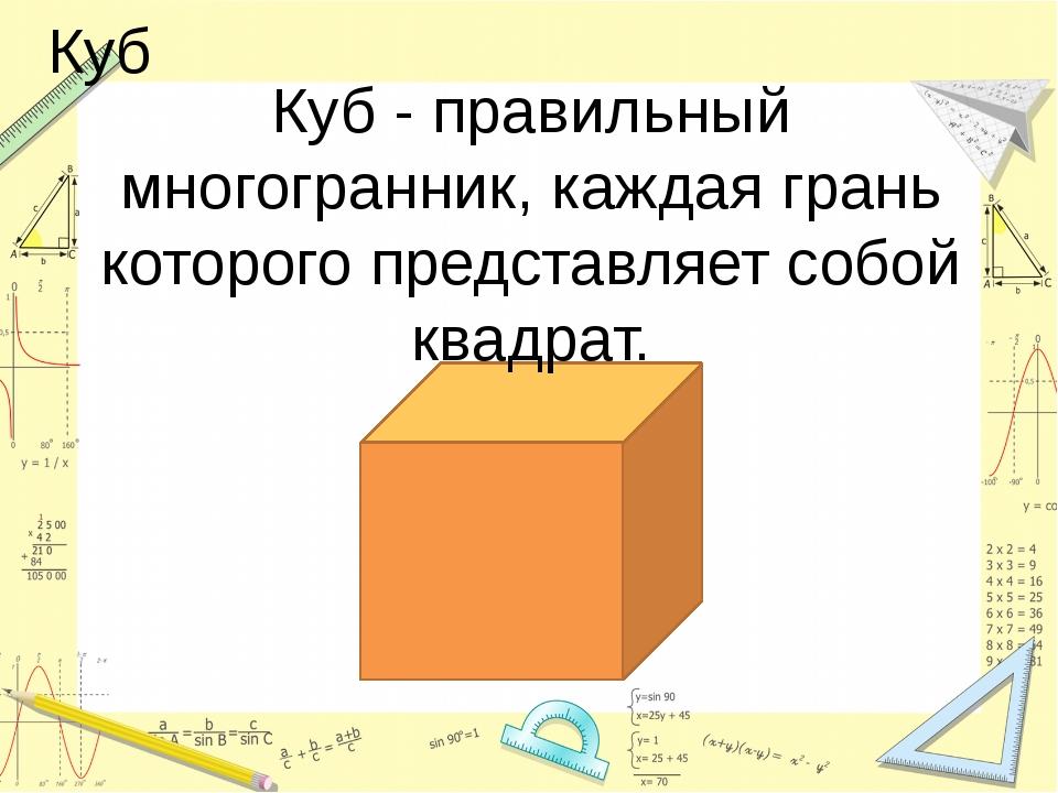Куб Куб - правильный многогранник, каждая грань которого представляет собой...