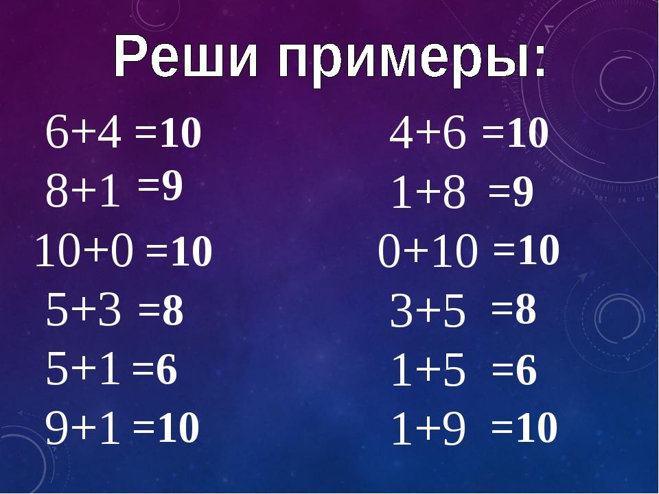 6+4 8+1 10+0 5+3 5+1 9+1 4+6 1+8 0+10 3+5 1+5 1+9 =10 =9 =10 =8 =6 =10 =10 =9...