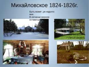 Михайловское 1824-1826г. Быть может ,уж недолго мне В изгнанье мирном остават